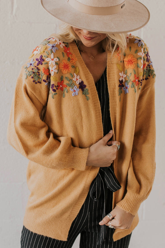 Embroidered Floral Cardigan For Women | ROOLEE