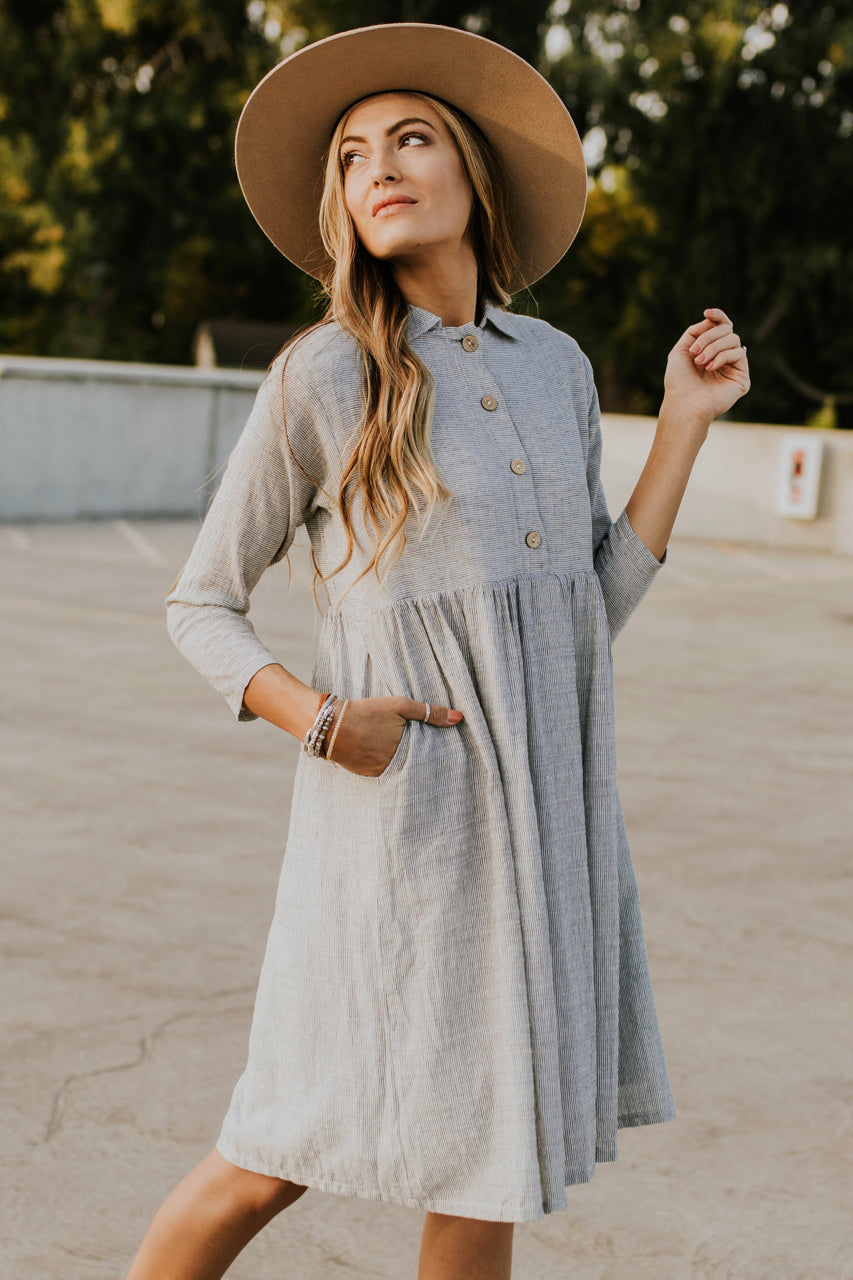 3/4 Sleeve Stripe Dress | ROOLEE