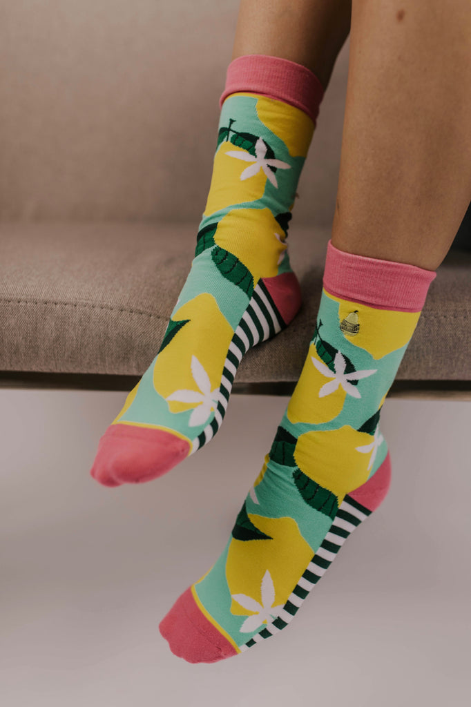 Woven Pear Lemon Socks | ROOLEE