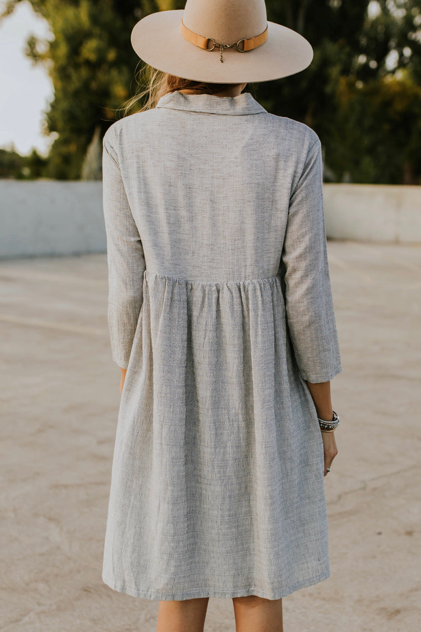 Grey Stripe Dress w/Buttons | ROOLEE
