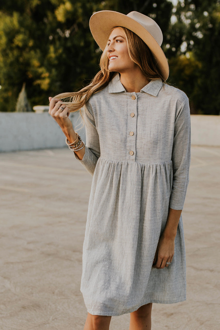 The Delacour Dress in Grey | ROOLEE