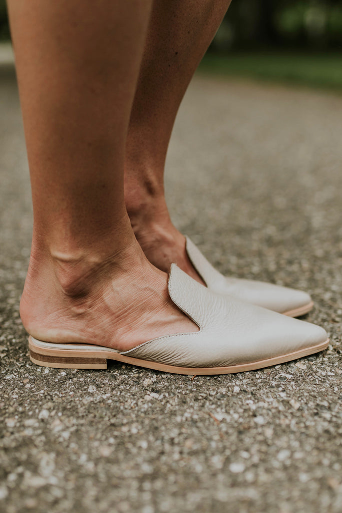 Light Grey Beige Slip On Sandals | ROOLEE