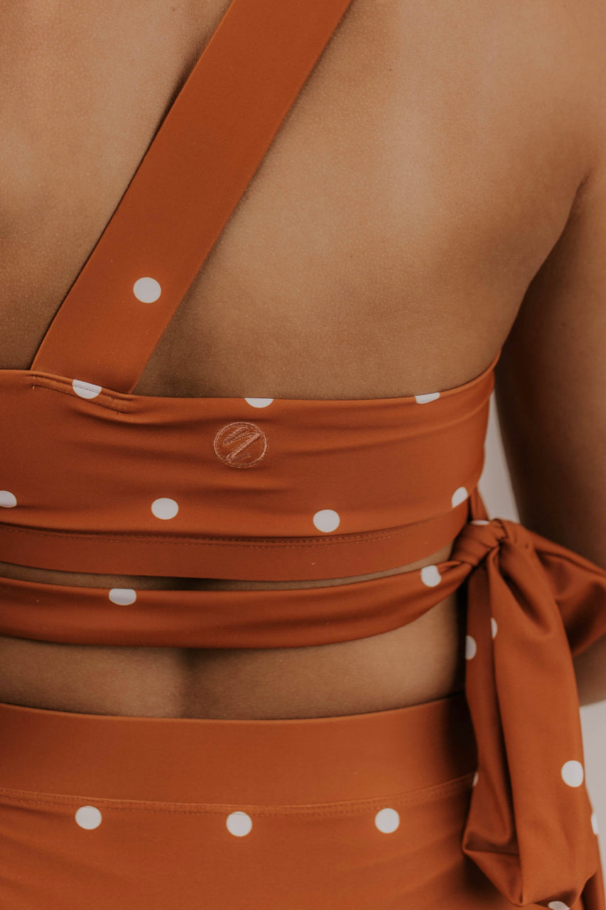 Citrus Dot One Shoulder Crop