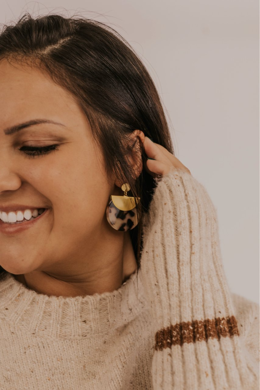 Gold Plated Tortoise Earrings | ROOLEE