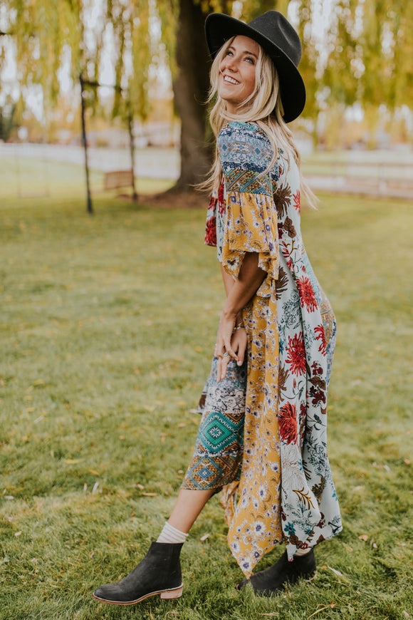 Multicolor Print Maxi Dress | ROOLEE