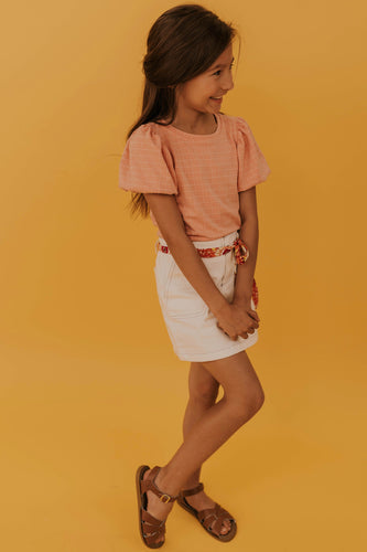 Kids White Denim Skirt | ROOLEE