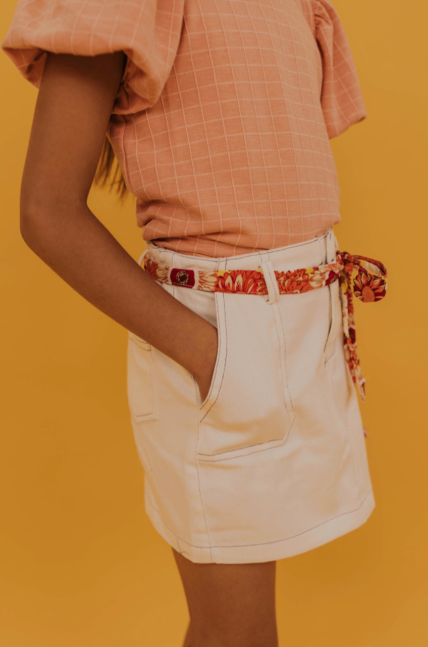 White Mini Skirt With Floral Belt Tie | ROOLEE