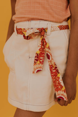 White Jean Skirt With Belt Tie | ROOLEE