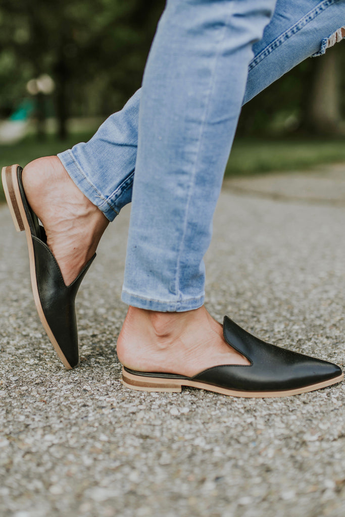 Genuine Leather Black Slip On Shoes | ROOLEE
