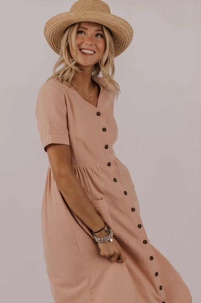 Blush Button Dress | ROOLEE