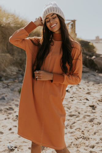 Coral shift dress for fall | ROOLEE