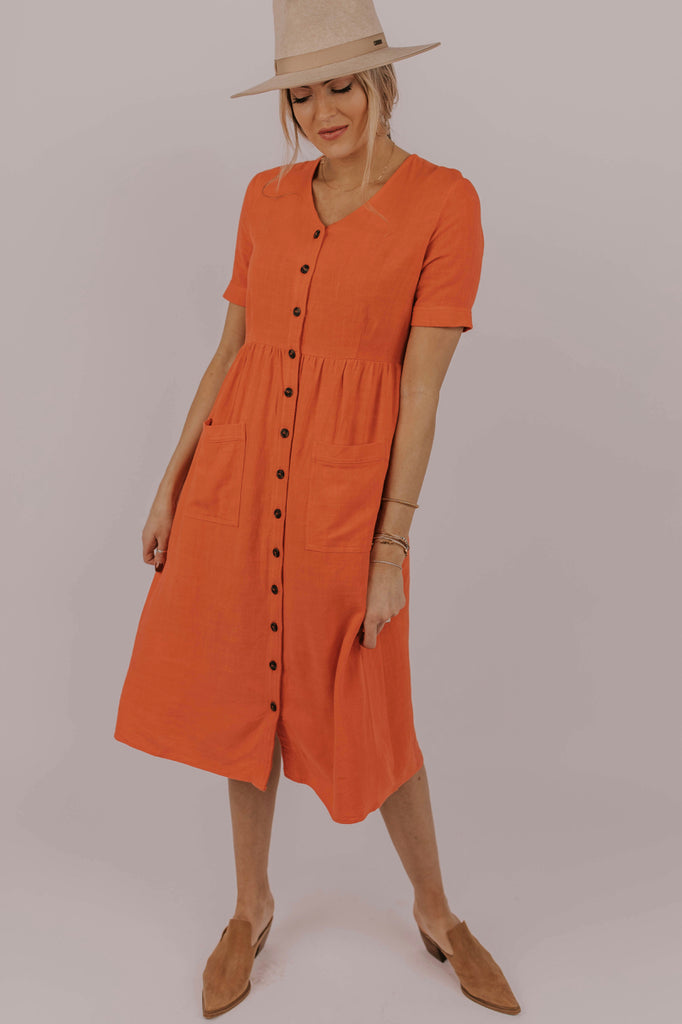 Bright Button Dress | ROOLEE