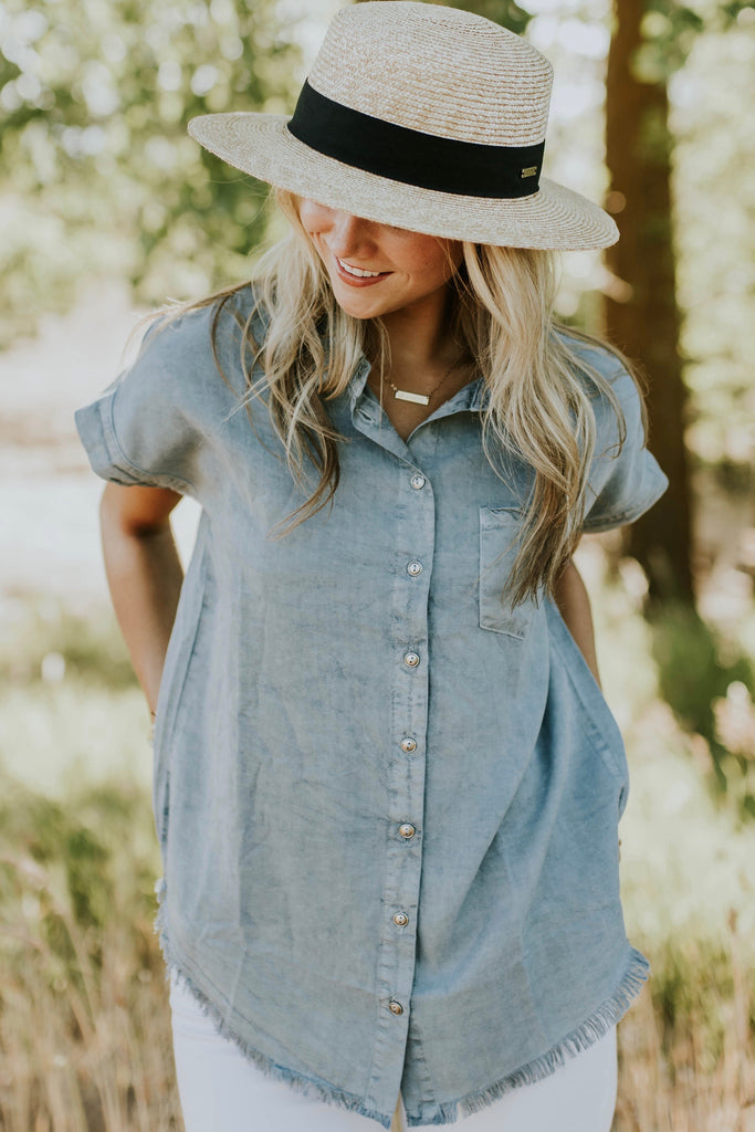 Collared Short Sleeve Top For Women | ROOLEE