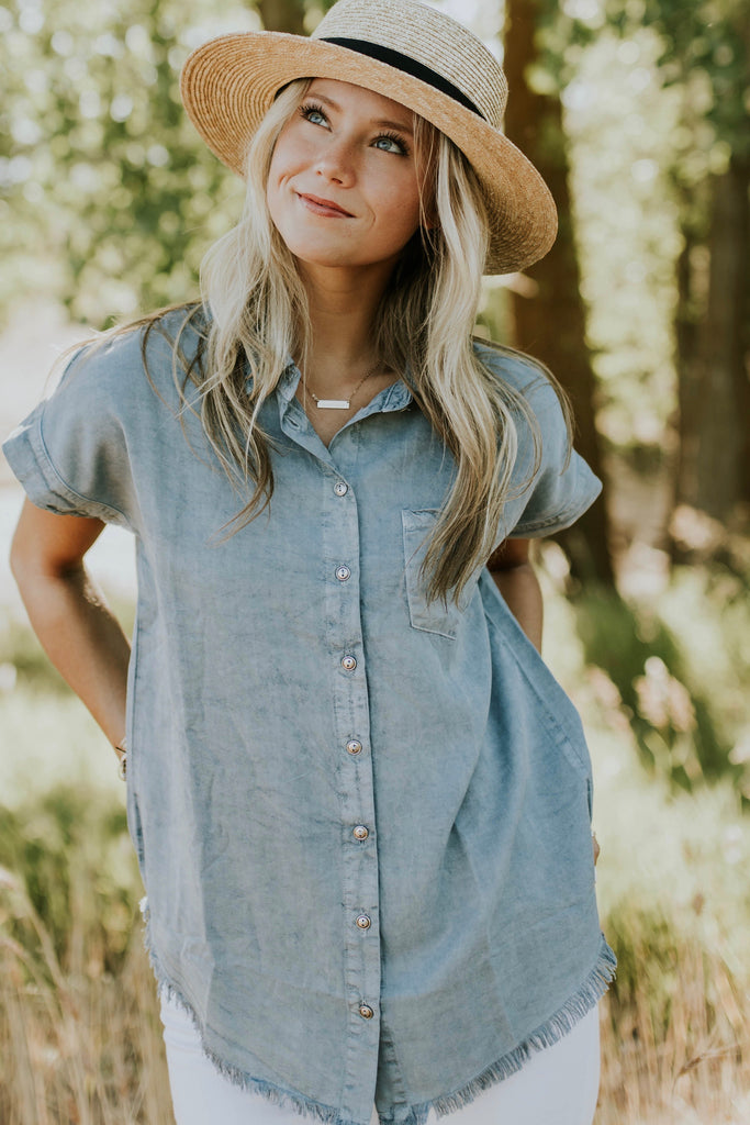 Coleman Button Up in Denim | ROOLEE