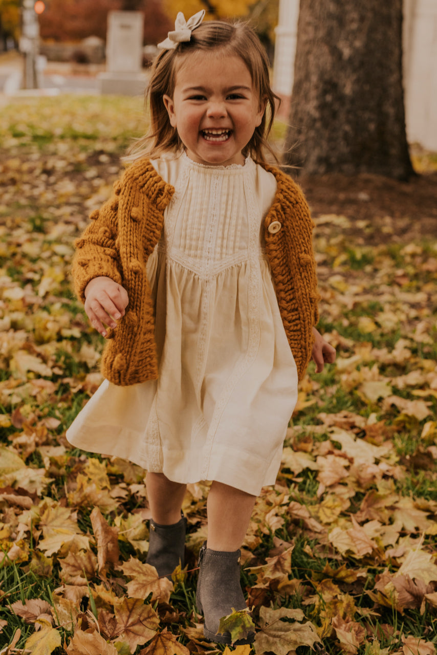 White Boho Dress for Kids | ROOLEE