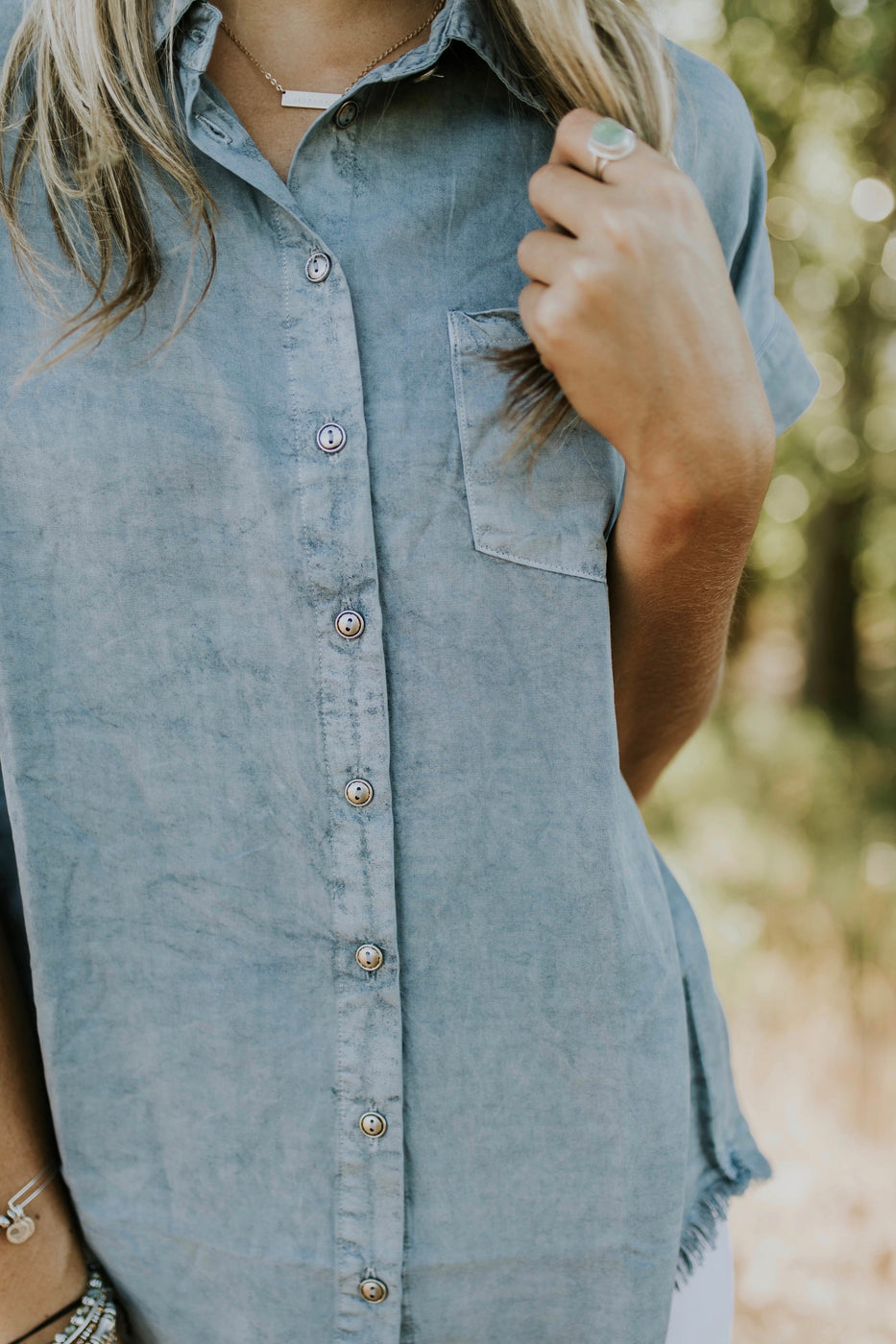 Faded Light Blue Button Down Shirt | ROOLEE