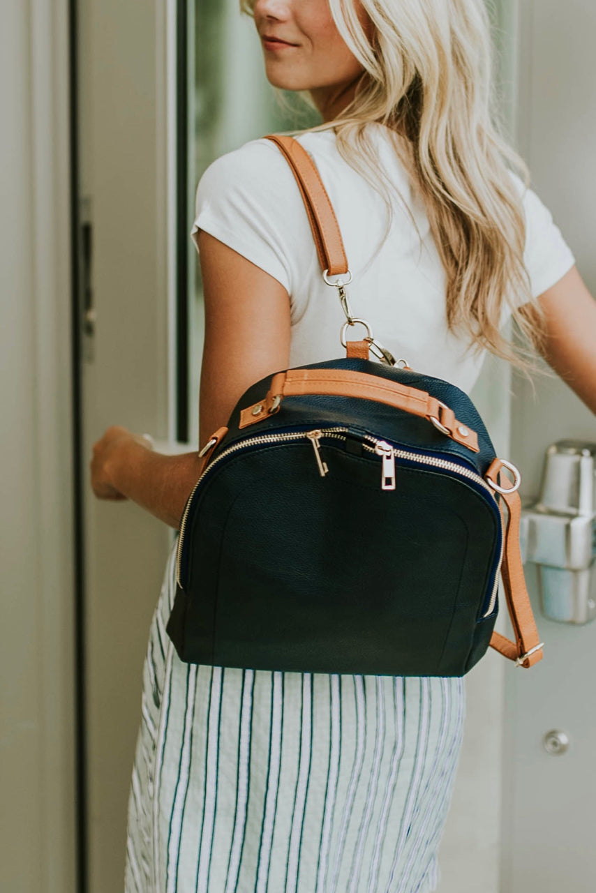 Navy Mini Backpack with Adjustable Straps | ROOLEE
