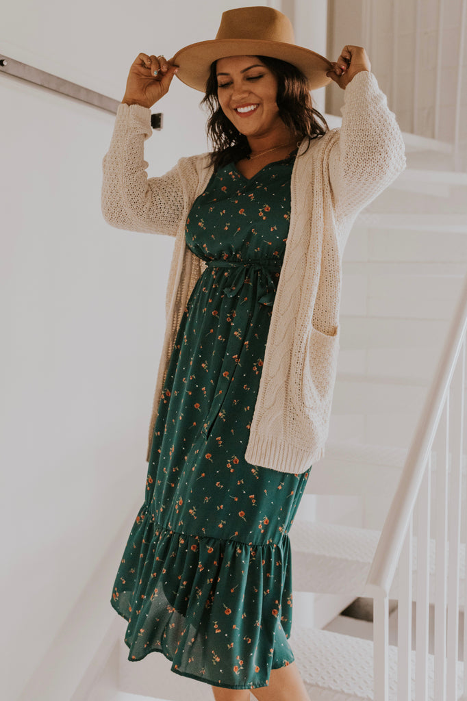 Ruffle Midi Dress For Fall Weather | ROOLEE
