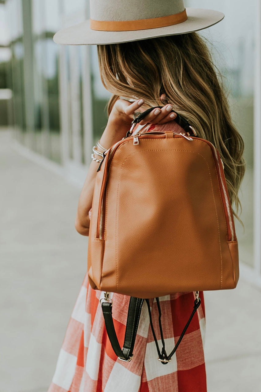 Toffee Leather Mini Backpack | ROOLEE