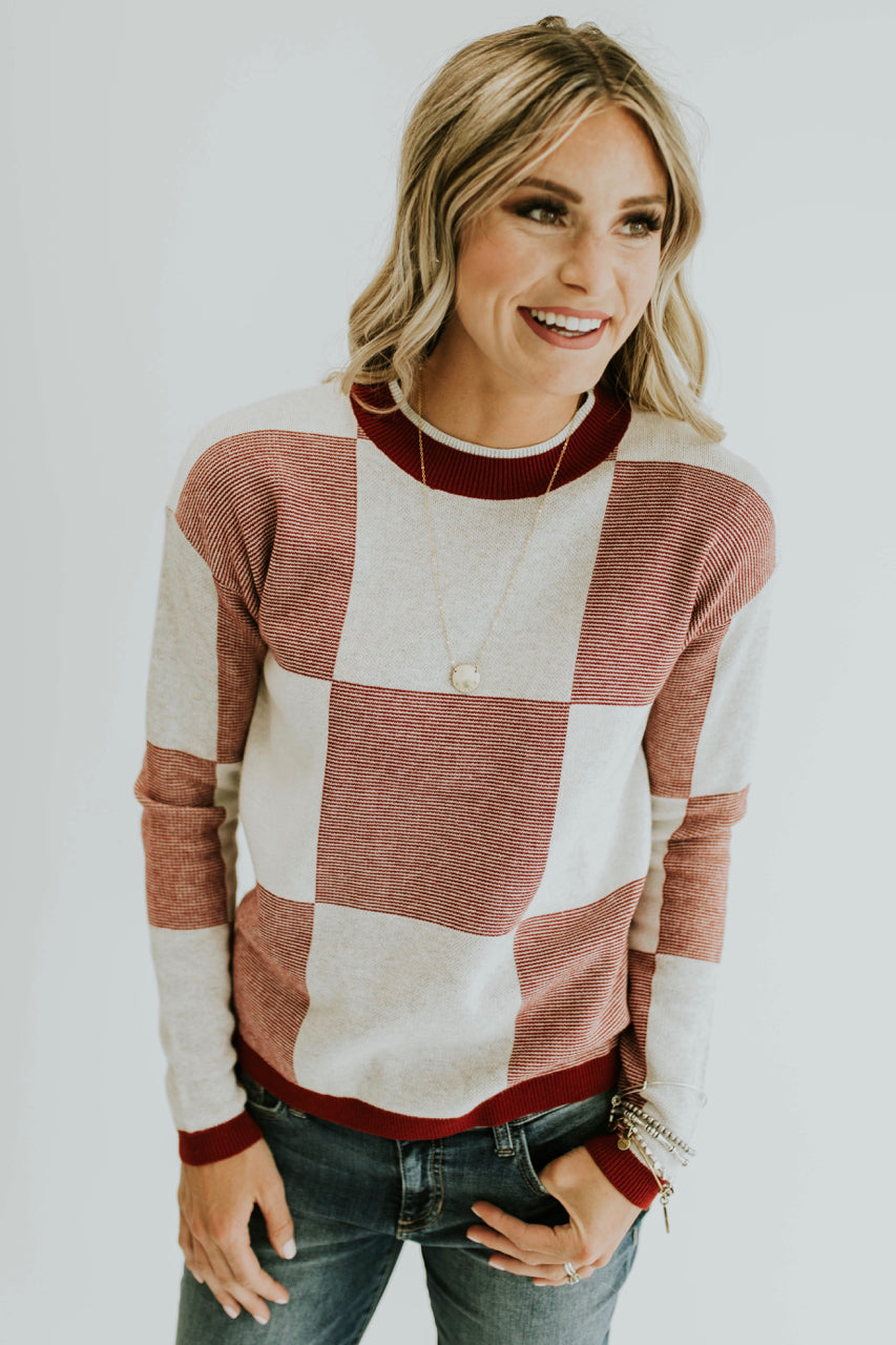 Daphne Colorblock Sweater in Burgundy | ROOLEE