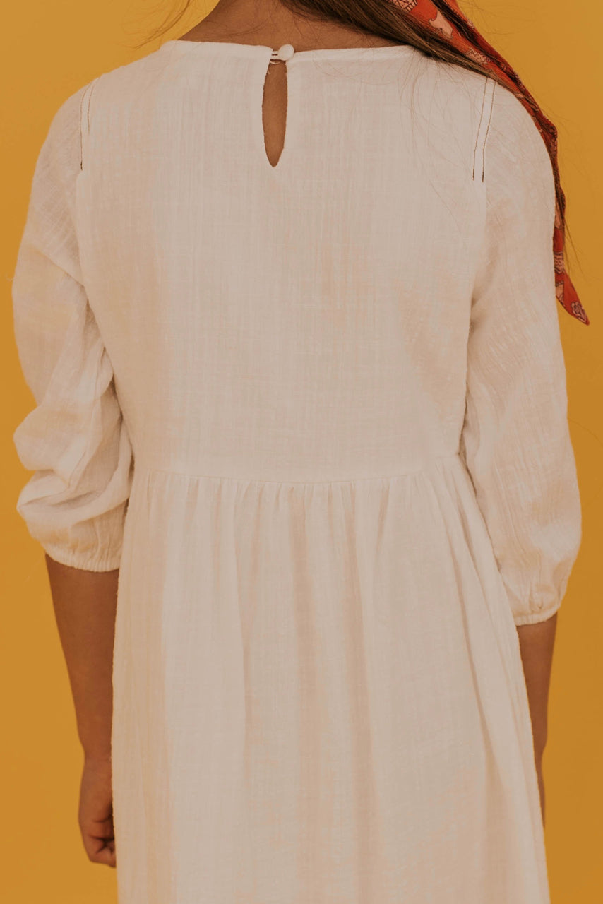 White Detail Button Front Dress | ROOLEE