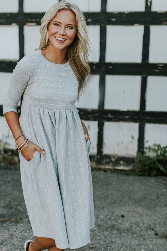 Sawyer Stripe Dress in Light Grey | ROOLEE