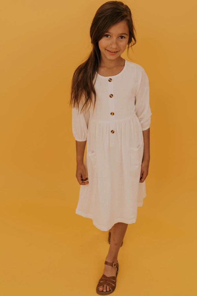Button Front White Dress | ROOLEE