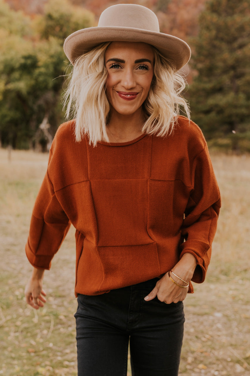 Rust Cropped Knit Sweater | ROOLEE