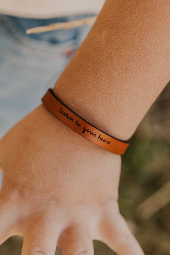 Mini Listen to Your Heart Leather Bracelet