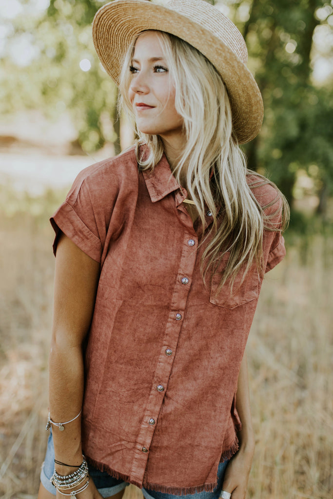 Coleman Button Up in Rust | ROOLEE