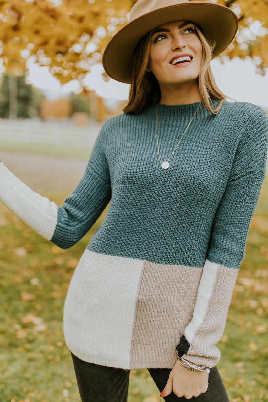 Teal Colorblock Sweater | ROOLEE