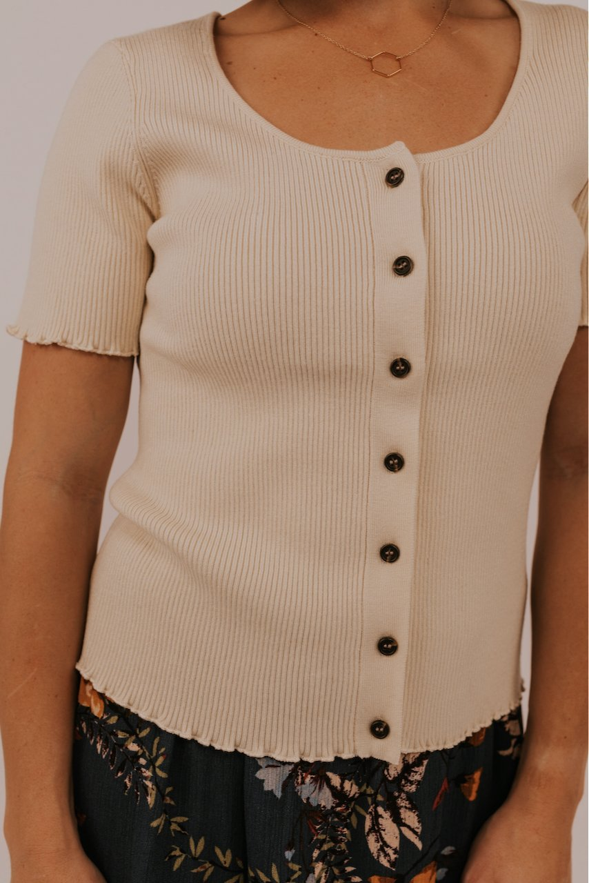 Cream Short Sleeve Layering Tops for Spring | ROOLEE