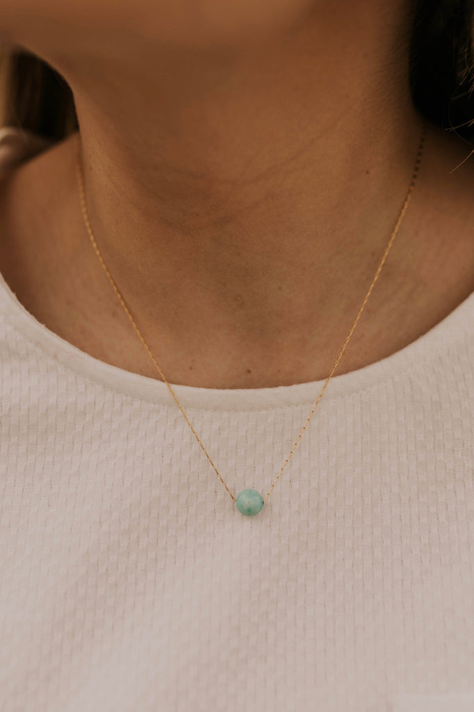 Light Blue Gem Necklace | ROOLEE