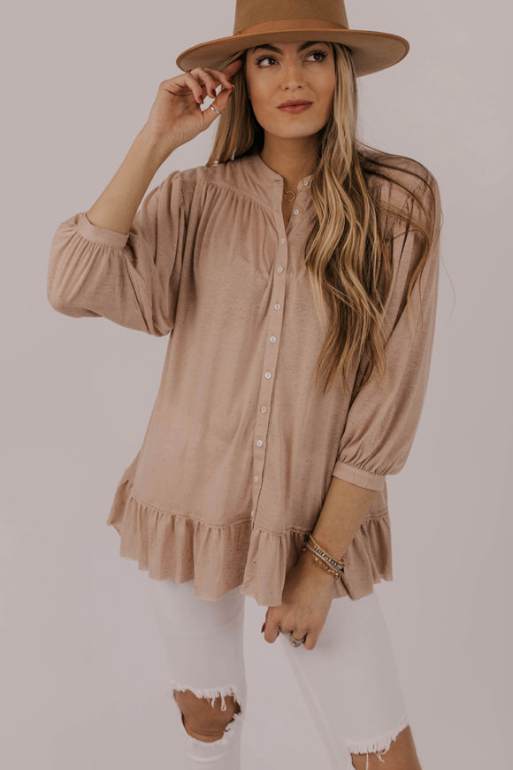 Button Up Ruffle Top | ROOLEE