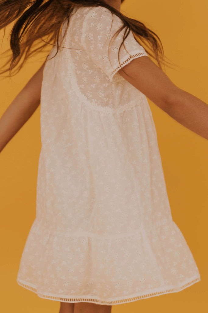 White Lace Embroidered Dress | ROOLEE