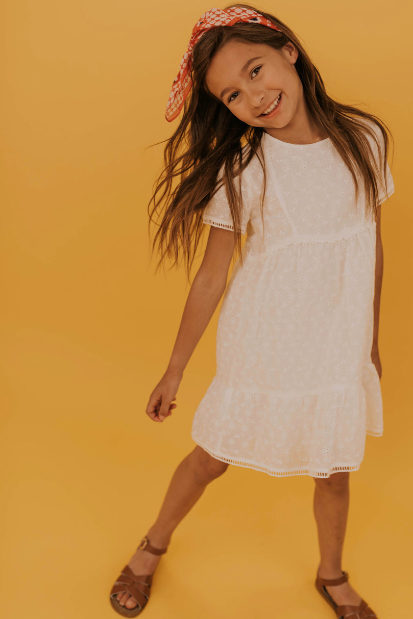 White Babydoll Embroidered Dress | ROOLEE