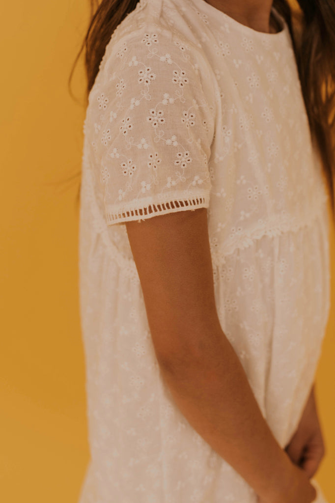 Lace Eyelet Kids Dress | ROOLEE