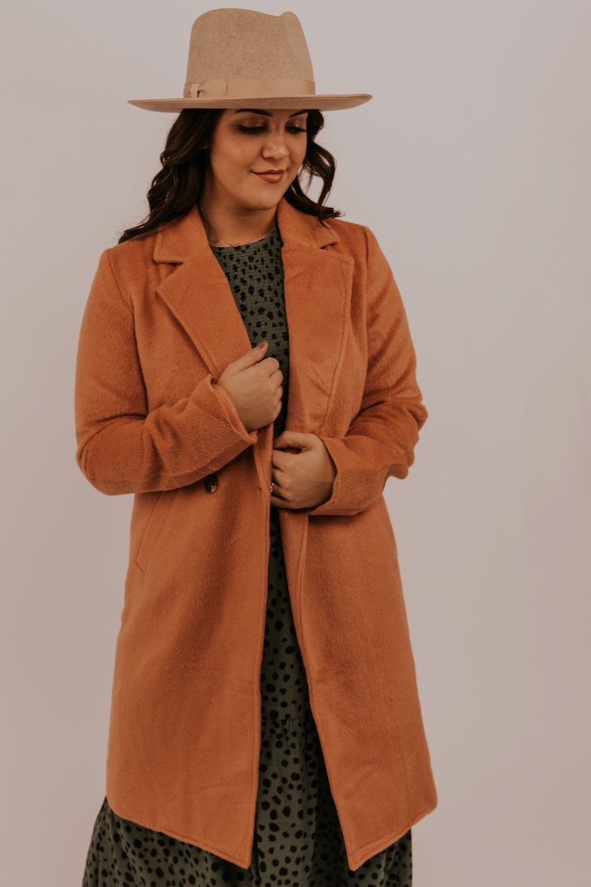 Coral Felted Lapel Coat | ROOLEE