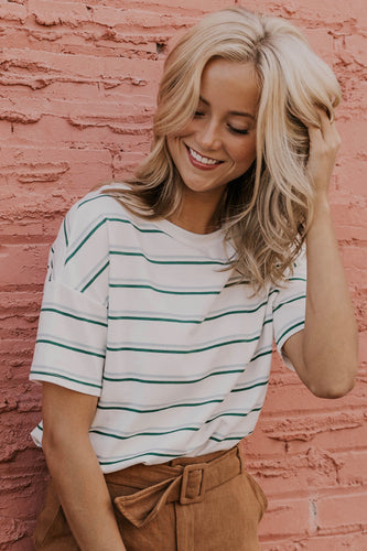 White, Green and Blue Striped Tee | ROOLEE
