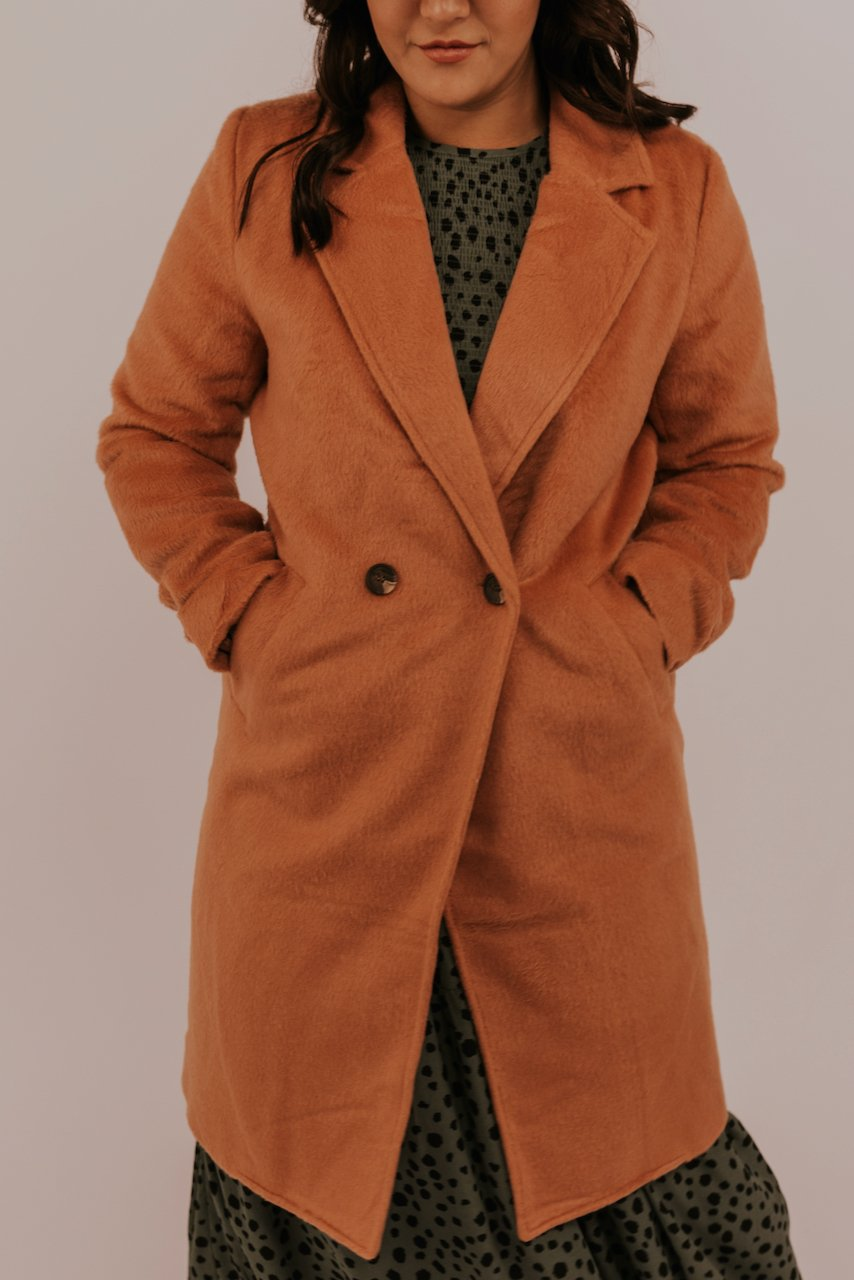 Peach Button Pea Coat | ROOLEE