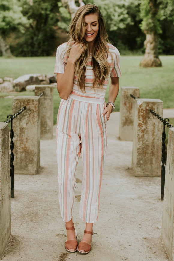 Brixton Stripe Jumpsuit in Peach | ROOLEE