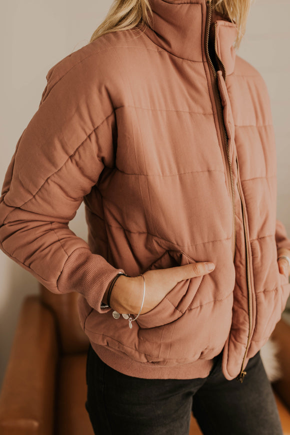 Quilted Coat Jacket with Mock Neck | ROOLEE