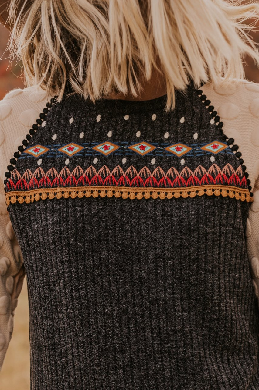 Geometric and Harvest Print Embroidered Sweater | ROOLEE