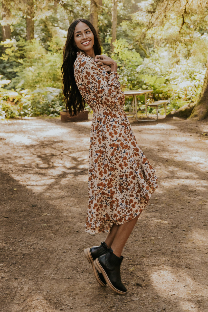 Floral midi muted dress | ROOLEE