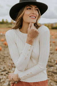 Harmony Ribbed Top in Ivory | ROOLEE