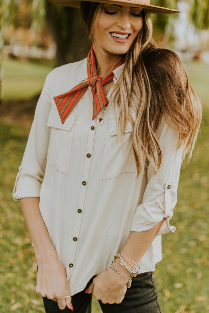 Neutral Button Up Blouse Outfit Ideas | ROOLEE