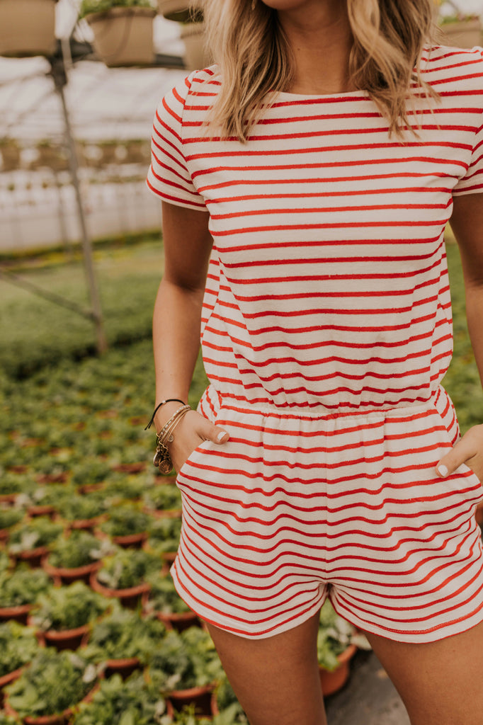 Red Stripe Romper | ROOLEE