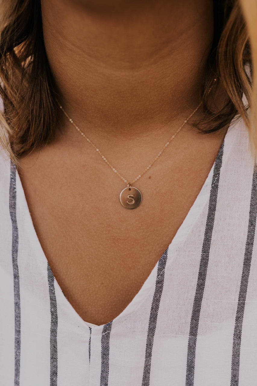 Gold Initial Coin Necklace | ROOLEE