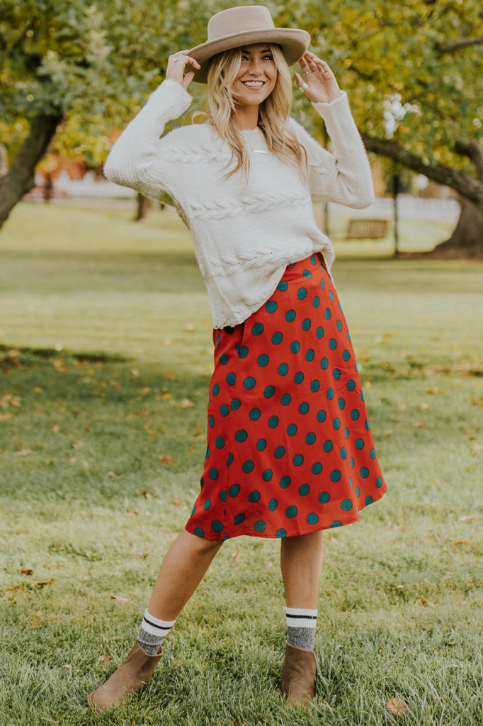 Polka Dot Skirt Outfit for Fall | ROOLEE