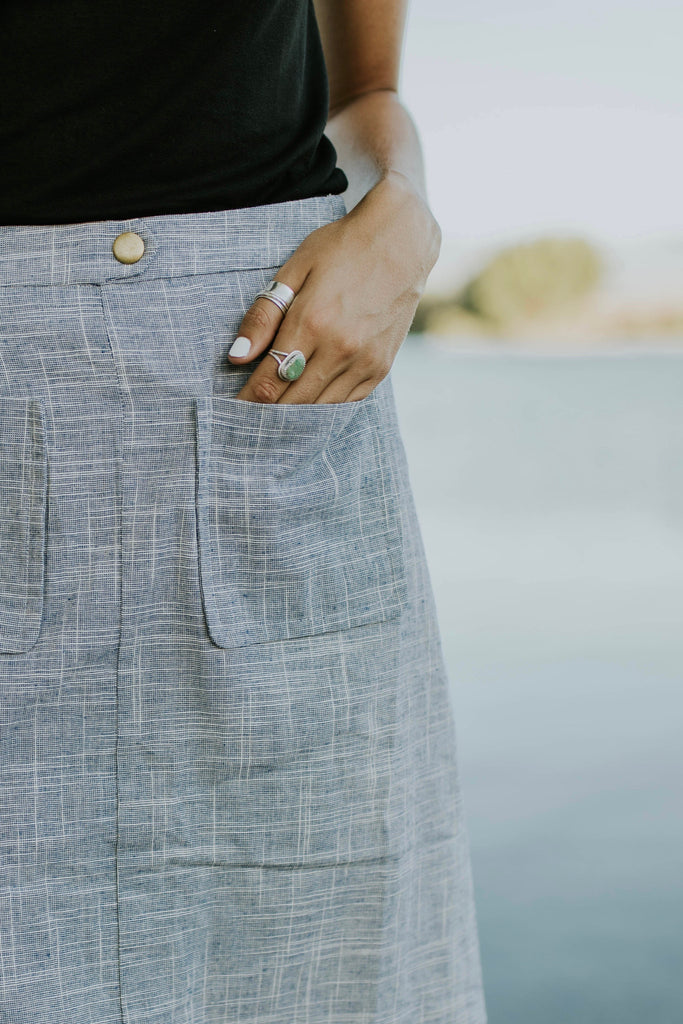 Woven Pocket Skirt in Blue | ROOLEE